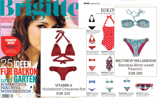 Twice as good: Vitamin A and Matthew Williamson in the magazine Brigitte