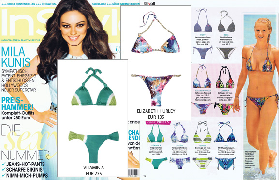 The bikini by Vitamin A creates a stir - in the fashion magazine In Style and on the beach!