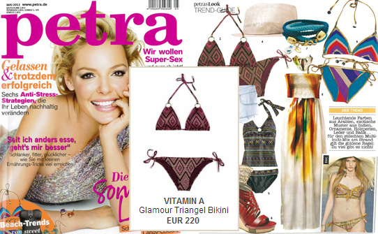 Exemplary: the triangle bikini by Vitamin A in the fashion magazine Petra