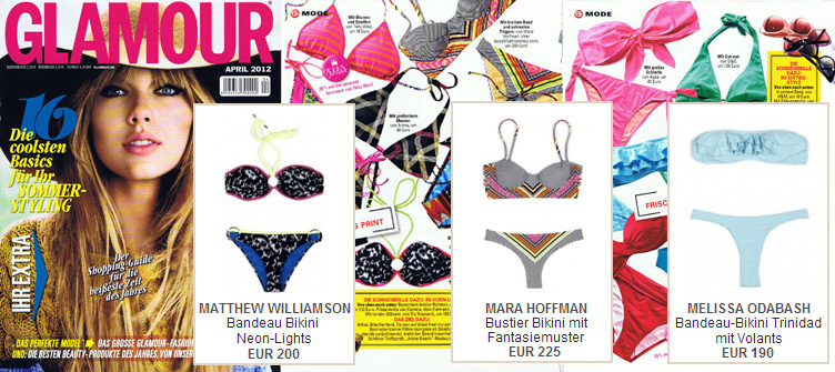 Glamour in sight: Bikinis by Matthew Wiliamson, Mara Hoffman and Melissa Odabash