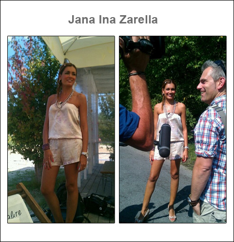 Salida a escena deslumbrante: La estrella televisiva y modelo Jana Ina con un jumpsuit de seda de Alexis