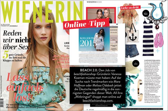 Beachfashionshop: la mejor tienda online también para la revista Wienerin