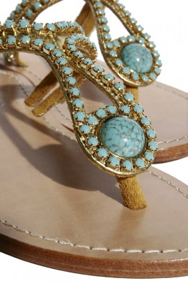 Leather sandals with turquoise stones