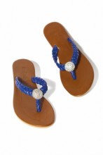 Royal blue leather sandals with crystals