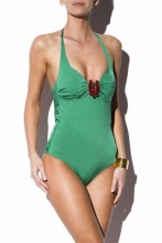 Swimsuit with glamorous brooch