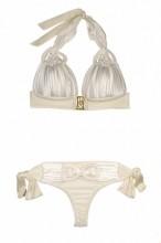 Luxury - Champagnerfarbener Makramee Triangle Bikini