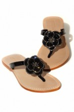Sandals with flower applications