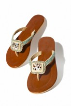 Sandals with leopard stone