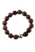Pulsera marrón con perlas de madera