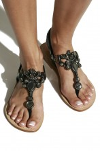 Black patent leather sandals with fancy gems
