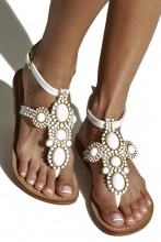 White patent leather sandals with gemstones