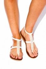 White T-strap leather sandals