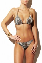 Brauner Snakeprint Triangel Bikini