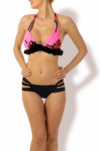 Pink Roses Push up Triangle Bikini