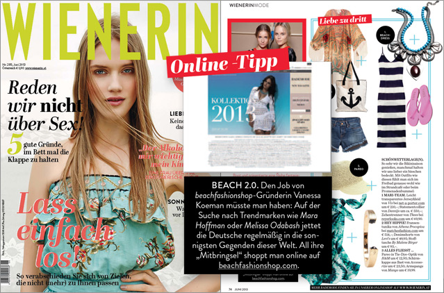 "Our swimwear shop as a shopping tip in the magazine ""Wienerin"""
