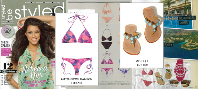 Be Styled! With the bikini by Matthew Williamson and the trend sandals by Mystique