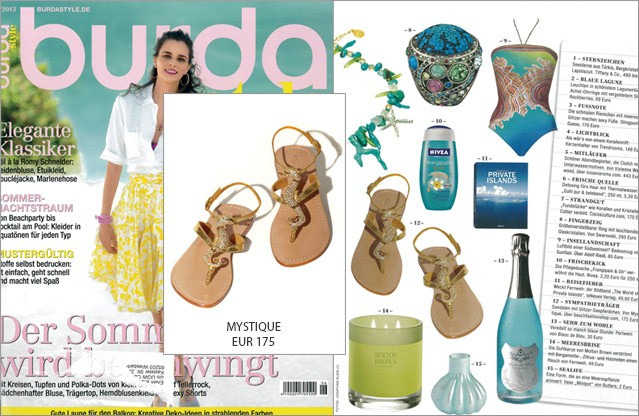 Die schönsten Sandalen von Mystique in der aktuellen Ausgabe der Burda Style