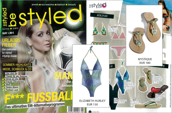 In the magazine Be Styled there's a blue sky, a blue bathing suit and blue sandals