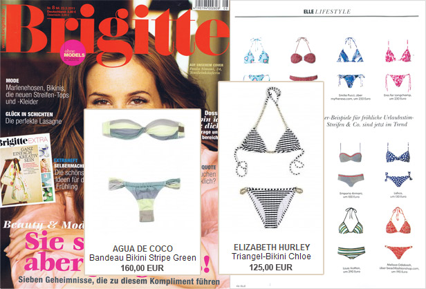 Two in one: Aqua de Coco and Elizabeth Hurley in the Brigitte magazine