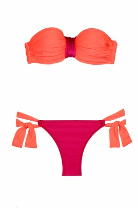 Trendy Koralle Push up Bandeau Bikini