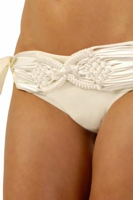 Luxury - Champagnerfarbener Makramee Balconette Bikini