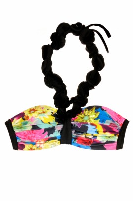 Summer Magic Flowers Push up Bandeau Bikini
