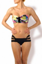 Summer Flowers Push up Bandeau Bikini
