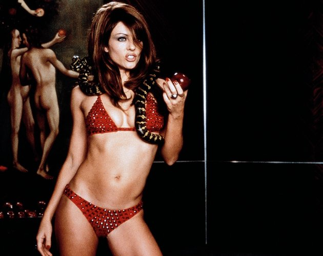 Well worth a sin: Elizabeth Hurley in a red triangle bikini